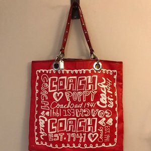 Coach Poppy Evie Tote in Red